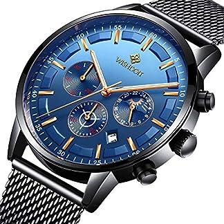 WISHDOIT-Uhren-Herren-Mode-Chronographen-Analoger-Quarz-Edelstahl-Wasserdich-Schwarze-Quartz-Milanaise-Mesh-Armband-Geschft-Casual-Datum-Uhr-Blau