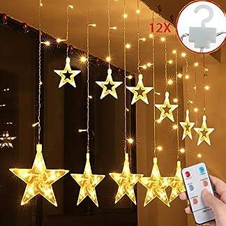 Salcar-Lichterkette-mit-LED-Kugel-12-Sterne-138-Leuchtioden-Lichtervorhang-Sternenvorhang-8-Modi-Innen-Auen