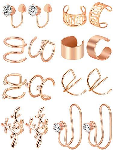 8 Paar Edelstahl Ohr Manschette Knorpel Manschette Nicht Piercing Ohrringe für Damen Mädchen Verschönerung, 8 Arten