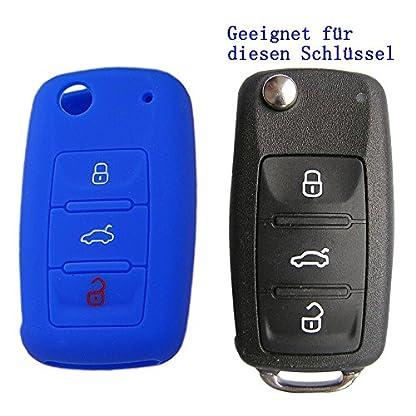 RotSale-1x-Schlsselhlle-fr-VW-SEAT-Skoda-3-Tasten-Schlssel-Autoschlssel-Silikon-Schutzhlle-Tasche-Gehuse-Fernbedingung-Klappschlssel-Hlle
