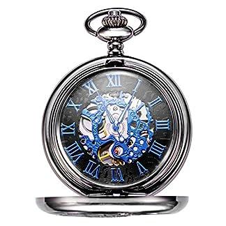 TREEWETO-Steampunk-Blau-Rmische-Ziffern-Zifferblatt-Mechanische-Taschenuhr-Skelett-Uhren-Herren