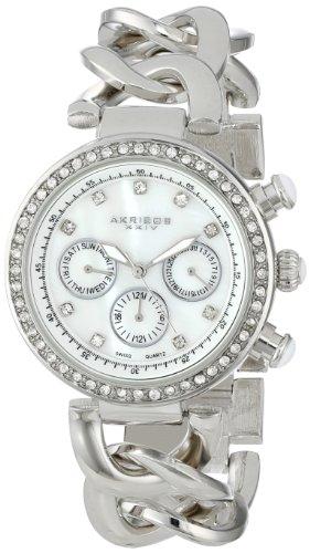 Akribos-XXIV-Damen-Lady-Diamond-Swiss-Multifunktions-Kristall-Perlmutt-silberfarbenes-Twist-Kette-Link-Armband-Armbanduhr