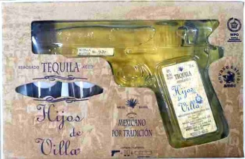 Premium-Brauner-Tequila-Jalisco-Mexiko-40-vol-Pistolenflasche-200ml-in-Geschenkverpackung-mit-zwei-Glsern-Tequila-Reposado-HIJOS-DE-VILLA-Pistol-200ml