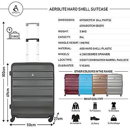 Aerolite-Leichtgewicht-ABS-Hartschale-4-Rollen-Trolley-Koffer-Reisekoffer-Hartschalenkoffer-Rollkoffer-Gepck-69cm-Wein