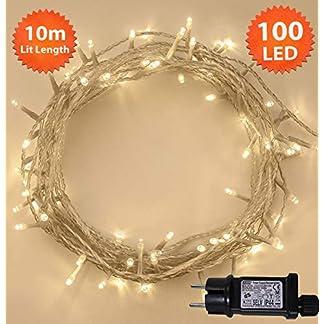 Weihnachts-Lichterketten-100-LED-warme-weie-Baum-Lichter-Innen-und-im-Freiengebrauch-Weihnachtsschnur-Lichter-Netzbetriebene-feenhafte-Lichter-10m-Lit-Lnge-KLARES-KABEL