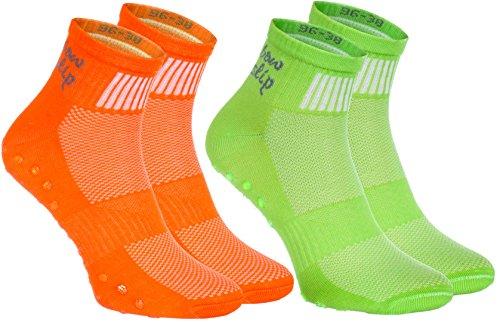 1, 2, 4 oder 6 Paar bunte Anti-Rutsch-Socken mit ABS-System,ideal für solche Sportarten,wie Joga,Fitness Pilates Kampfkunst Tanz Gymnastik Trampolinspringen.Größen von 36 bis 46, atmende Baumwolle