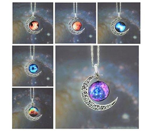 CargoMix® Einzigartige Entwurfs-Crescent Moon Galaxy Universe Glascabochon Anhänger Halskette Große Geschenke …