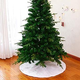 Romdink-40-Zoll-wei-Schnee-Weihnachtsbaum-Rock-weiche-Kunstpelz-Baum-Rock-fr-Xmas-Party-und-Urlaub-Dekorationen-Baumschmuck-Dekoration