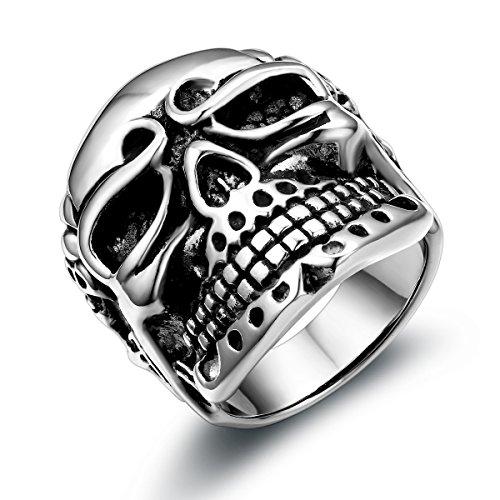 JewelryWe Schmuck Herren Edelstahl Ring Biker Band Gotik Totenkopf Schädel Edelstahlring für Halloween Weihnachten, Schwarz Silber Größe 54 bis 67 – mit Geschenk Tüte