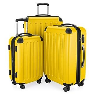 HAUPTSTADTKOFFER-Spree-3er-Koffer-Set-Trolley-Set-Rollkoffer-Reisekoffer-Erweiterbar-TSA-4-Rollen-S-M-L-Gelb