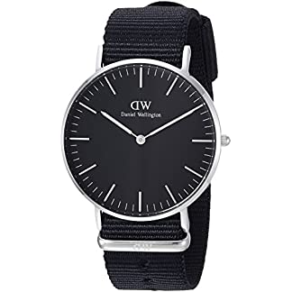 Daniel-Wellington-Unisex-Armbanduhr-CLASSIC-BLACK-Analog-Quarz-Textil-DW00100151