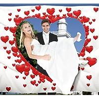 Hochzeitsherz-zum-Ausschneiden-fr-das-Brautpaar-inkl-2-Nagelscheren-Bedrucktes-Bettlaken-das-Hochzeitsspiel-fr-Braut-und-Brutigam