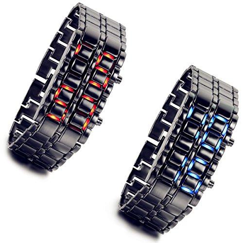 Lancardo-2pcs-Herren-Mnner-Digital-Armbanduhr-LED-Leuchtend-Sportuhr-mit-Legierung-Armband-blau-schwarz-rot