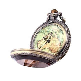 XLORDX-Vintage-Retro-Australien-Herren-Unisex-Karte-Taschenuhr-Analog-Quarz-Uhr-Bronze-Ketteuhr