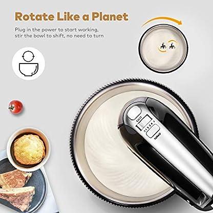 PHONECT-Handmixer-2-in-1-Abnehmbarer-Kchenmaschine-5-Gang-Handrhrgert-mit-Turbo-und-Easy-Eject-Taste-inklusive-robuster-Schlger-Teighaken-und-Edelstahl-Schssel-35L-Schwarz