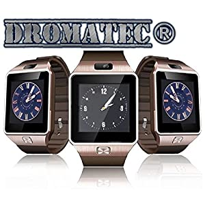 DROMATEC-SW09-GOLD-Smartwatch-Uhr-GSM-2G-Bluetooth-Kamera-Podometer-Schlafmodus-fr-Android-und-Iphone-IOS