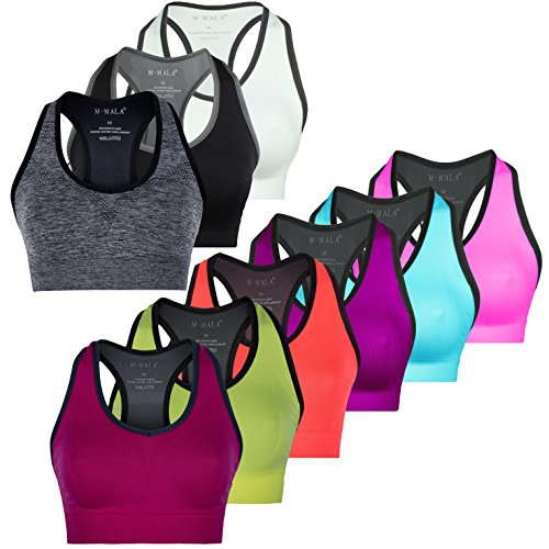 M-Mala Sport BH Sport-BH Yoga Bralette Pack abnehmbare Polsterung Schock Absorber Compression