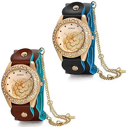 JewelryWe-Damen-Armbanduhr-Elegant-Charm-Kamelie-Strass-Zifferblatt-Analog-Quarz-Uhr-mit-Kette-Leder-Armband-Schwarz-Braun