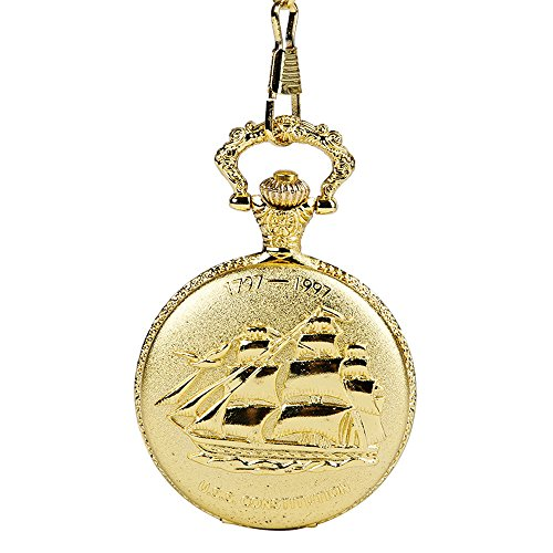 XLORDX-Taschenuhr-Herren-Unisex-Quarz-Uhr-mit-Halskette-Kette-uhr-Pocket-Watch-Geschenk-Gold-Schiff