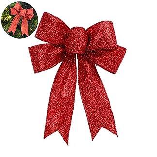ZXYAN-51-Zoll-Red-Glitter-Bow-Garland-Baum-Hut-Bogen-Indoor-Outdoor-Weihnachtsdekoration