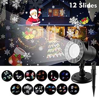 Wilktop-LED-Projektionslampe-LED-Projektor-SchneefallSchneeflocken-Weihnachtsprojektor-IP65-Wasserdicht-Auen-Weihnachtsbeleuchtung-Lichter-fr-Weihnachten-Halloween-Familienfeiern-Party