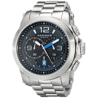 Akribos-XXIV-Herren-der-grandiosen-Chronograph-silberfarbenes-Edelstahl-Armband-Armbanduhr