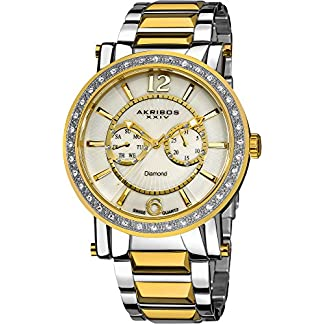 Akribos-XXIV-Herren-Armbanduhr-Ultimate-Swiss-Tag-und-Datum-Diamant-aus-Edelstahl