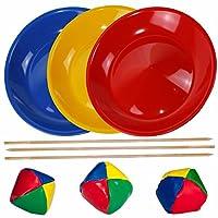 SchwabMarken-JongliertellerJonglierset-SpielesetGeschicklichkeitsspiel-mit-3-Jongliertellern-3-Stben-und-3-Jonglierbllen