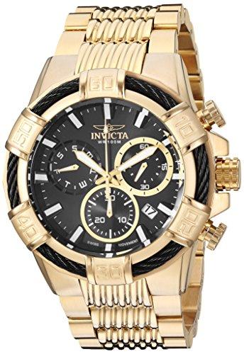Invicta-Bolt-Herren-Armbanduhr-Armband-Edelstahl-Gold-Schweizer-Quarz-25867