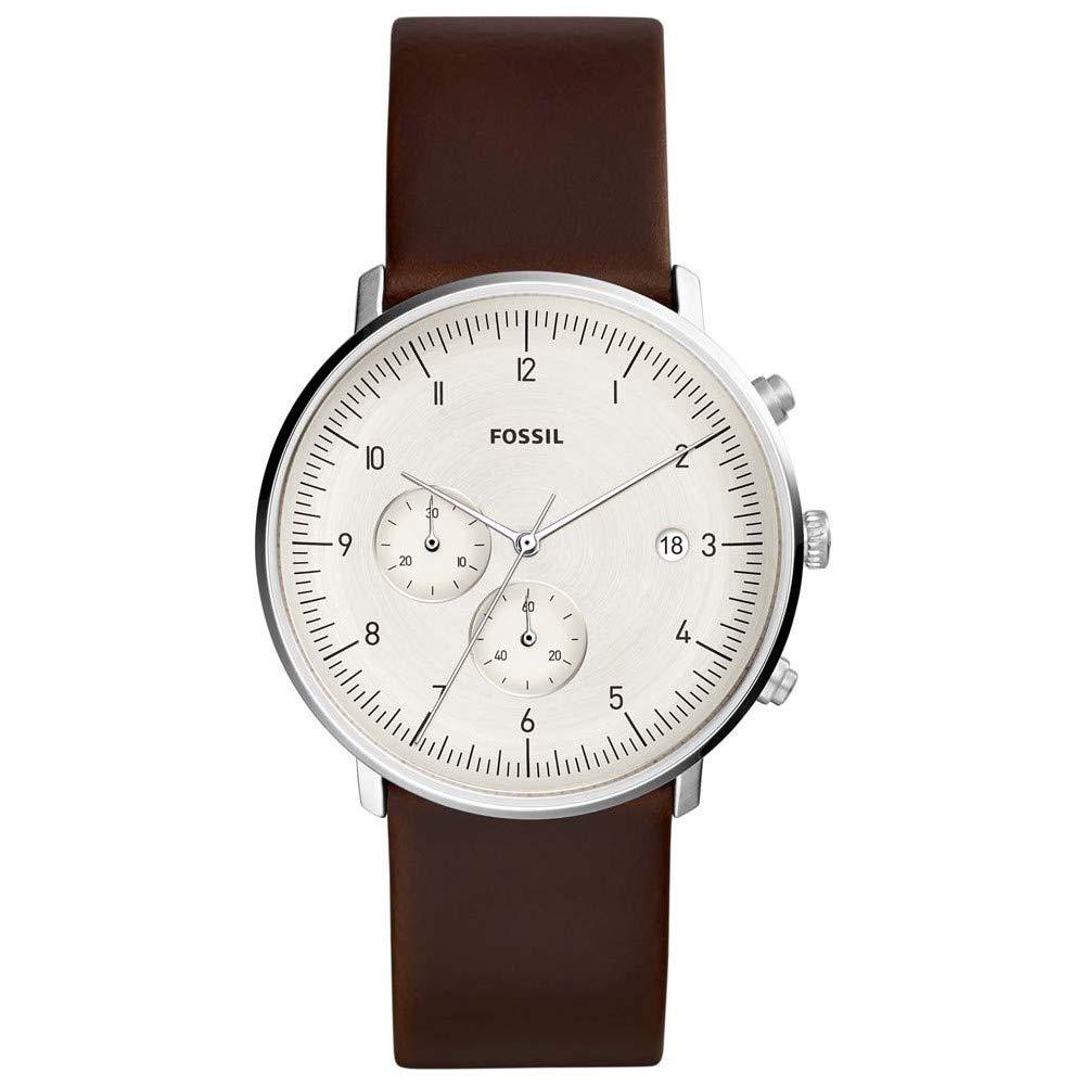 Fossil-Herren-Chronograph-Quarz-Uhr-mit-Leder-Armband-FS5488