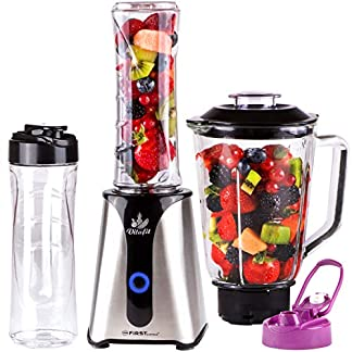 TZS-First-Austria-2-in-1-Smoothie-Maker-mit-Standmixer-Glasbhlter-Aufsatz-350-W-Edelstahl-Design-mit-Einschalter-und-2-BPA-freie-600ml-Trinkflaschen-Standmixer-Mixer-splmaschinenfest