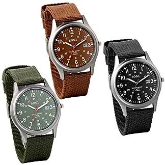 JewelryWe-Herren-Armbanduhr-Kalender-LED-Licht-Canvas-Stoff-Band-Quarz-Analog-Uhr
