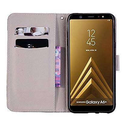 Huphant-Samsung-Galaxy-A6-Plus-2018-Hlle-Leder-Gemalt-Lanyard-Klapphlle-Stnder