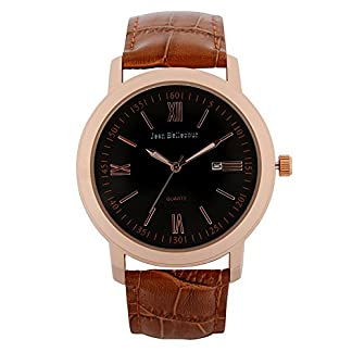 Jean-Bellecour–S0036–2–Armbanduhr–Quarz-Analog–Zifferblatt-schwarz-Armband-Leder-braun
