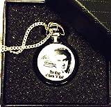 Elvis-Presley-Mottoparty-Taschenuhr-Halskette–Silber-Vergoldet-Kette–In-Geschenkbox-mit-gratis-Ersatz-Batterie