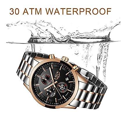 LIGE-Herren-Uhren-Schwarz-Edelstahl-Wasserdicht-Mnner-Armbanduhr-Elegant-Analog-Quarz-Herrenuhr-Sport-Militr-Chronograph-Kalender-Markenuhren