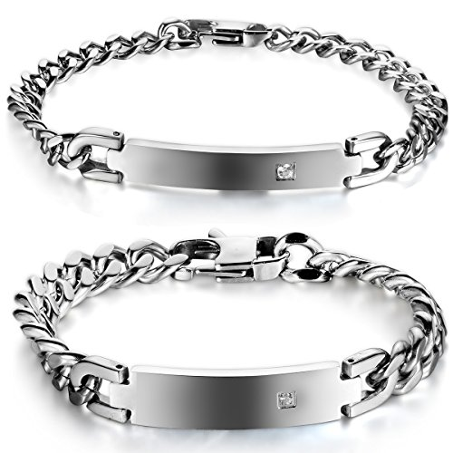 JewelryWe Schmuck Edelstahl Partnerarmband mit Gravur Poliert Panzerkette Armband Panzerarmband Pärchen Armreifen für Herren Damen Silber
