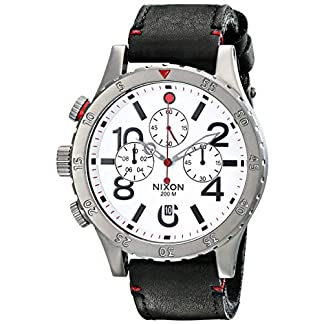 Nixon-Herren-Analog-Quarz-Uhr-mit-Leder-Armband-A363486