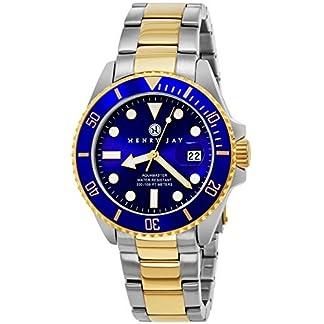 Henry-Jay-Mens-23K-Gold-berzug-Solider-Edelstahl-Zwei-Ton-Specialty-Aquamaster-Professionelle-Taucheruhr-mit-Datum