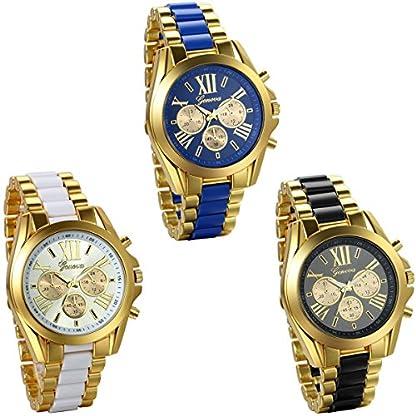 JewelryWe-Herren-Armbanduhr-Analog-Quarz-Business-Casual-Edelstahl-Armband-Uhr-mit-Rmischen-Ziffern-Zifferblatt-Gold-Schwarz-Blau-Weiss