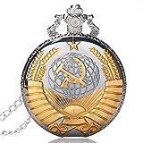 Sowjetunion-Kommunistische-Badge-Sichel-Hammer-Fall-Quarz-Taschenuhr-fr-Herren-Geschenk