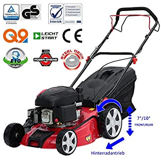 Sweepid-Benzin-Rasenmher-30kW-41-PS-46cm-Schnittbreite-Stahlgehuse-62L-Fangkorb-Easy-Clean-4-Takt-Motor-Mher-TV-SD