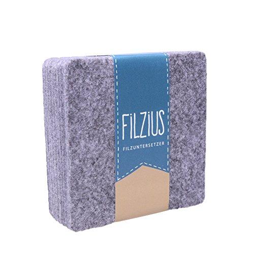 Filzius Filzuntersetzer 8er Set hochwertiges Recycling Filz – viereckig – quadratisch – Getränkeuntersetzer – Untersetzer für Gläser und Tassen – grau
