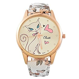 Souarts-Damen-Armbanduhr-Einfach-stil-Katze-Muster-Elegant-Analoge-Quarz-Uhr-mit-Batterie-Wei