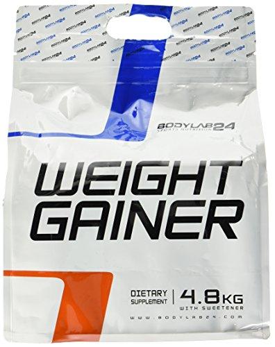 Bodylab24 Weight Gainer Erdbeere, ideales Verhältnis aus Kohlenhydraten und Eiweiß, über 1000kcal je Portion, 4.8 kg