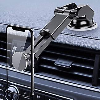 FLOVEME-Handyhalter-frs-Auto-2-in-1-Magnet-Universal-Handyhalterung-Auto-Saugnapf-fr-Armaturenbrett-Windschutzscheibe-360-KFZ-Smartphone-Halterung-Mit-Teleskoparm-fr-iPhone-Samsung-Huawei