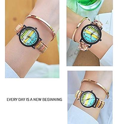 Godagoda-Damen-Armbanduhr-Creative-Farbige-Holz-Textur-Stil-Streifen-Muster-PU-Leder-Bunt-Armband-Deko-Quarzuhr