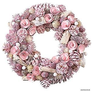 Wunderschner-Trkranz-WeihnachtenZapfenkranz-Rosa–34cm-Deko-WandkranzWeihnachtskranz-Zapfen-HngekranzTischkranz-WeihnachtenWeihnachtsdeko