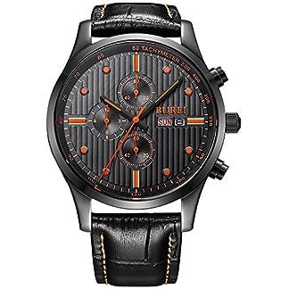 BUREI-Chronograph-Herrenuhr-Big-Face-Herren-Armbanduhr-mit-Datumsanzeige-und-schwarzem-Kalbslederband