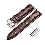 Uhrenarmband-mit-Leder-Herren-Ersatzband-14mm-16mm-18mm-19mm-20mm-21mm-22mm-23mm-24mm-Braun-Edelstahl-Schnalle-fr-Eine-Vielzahl-von-Traditionellen-Uhren-Sportuhr-Ersatzteile